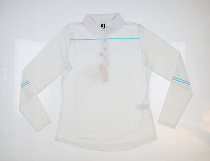 New Womens Footjoy Long Sleeve Golf Polo Medium M White MSRP $90 27582