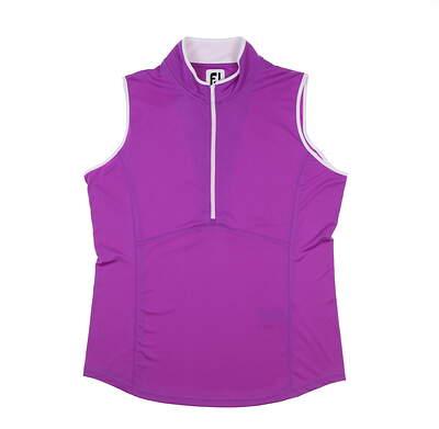 New Womens Footjoy Interlock Sleeveless Polo Large L Grape/White MSRP $65 27397