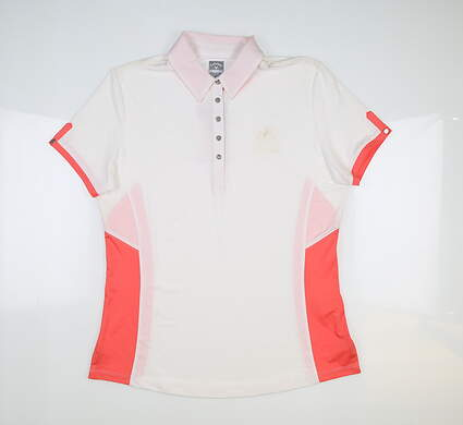 New W/ Logo Womens Callaway Golf Polo Medium M Bright White MSRP $65 CGKF6045