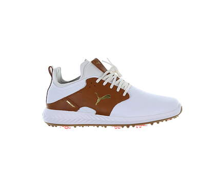 New Mens Golf Shoe Puma IGNITE PWRADAPT Caged Crafted 9 White/Brown MSRP $170 193825 01
