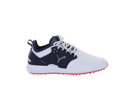 New Mens Golf Shoe Puma IGNITE PWRADAPT Caged 9 White/Blue MSRP $150 192223 05