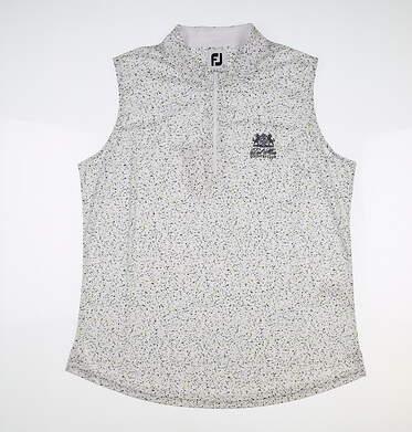 New W/ Logo Womens Footjoy Sleeveless Golf Polo Large L White MSRP $80 27480