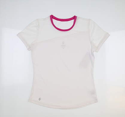 New Womens GG BLUE Chloe T-Shirt X-Small XS White/Magenta MSRP $82 E1089-3763-XS