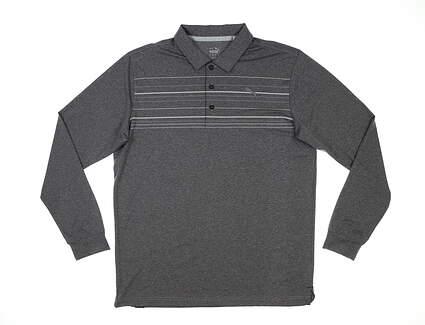 New Mens Puma Mattr Long Sleeve Polo Medium M Gray MSRP $80 531719