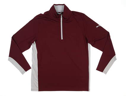 New Mens Puma Gamer 1/4 Zip Pullover Medium M Zinfandel MSRP $65 599127 28