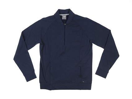 New Womens Puma Cloudspun 1/4 Zip Pullover Small S Navy Blazer MSRP $80 531229 02