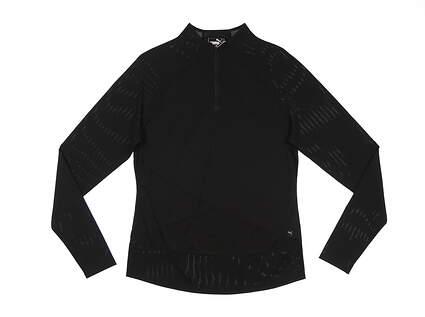 New Womens Puma Mesh 1/4 Zip Pullover Small S Puma Black MSRP $70 595848 01