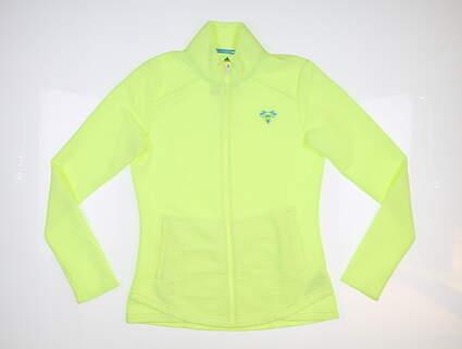 New W/ Logo Womens Adidas Golf Jacket Small S Yellow MSRP $75
