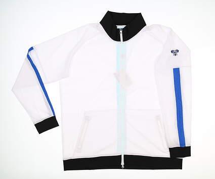 New W/ Logo Womens Footjoy Lightweight Woven Jacket Large L White/Black MSRP $143 27571