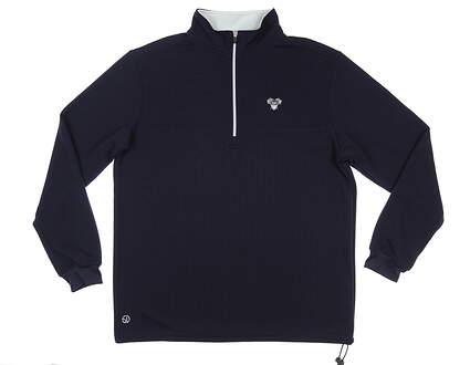 New W/ Logo Mens Straight Down Optic 1/2 Zip Pullover X-Large XL Indigo MSRP $105 60339