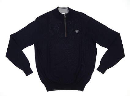 New W/ Logo Mens Peter Millar 1/4 Zip Golf Sweater Large L Navy MSRP $190 MF18S60