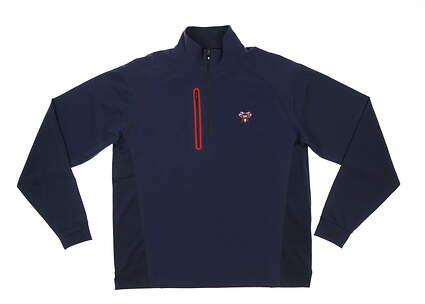 New W/ Logo Mens Footjoy Windtech 1/2 Zip Pullover Medium M Navy/Red MSRP $155 24771