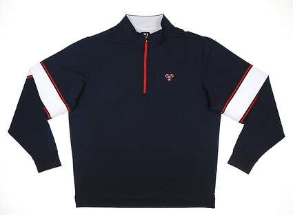 New W/ Logo Mens Footjoy Jersey 1/2 Zip Pullover X-Large XL Navy/Red MSRP $120 25031