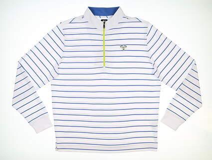 New W/ Logo Mens Footjoy Jersey Stripe 1/2 Zip Pullover X-Large XL White/Blue Marlin MSRP $120 24783