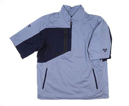 New W/ Logo Mens Sun Mountain RFX Short Sleeve Rain Jacket Large L Infinity/Navy MSRP $145 C80220