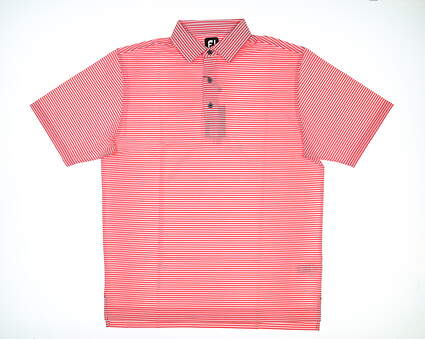 New Mens Footjoy ProDry Stretch Polo Large L Watermelon/White MSRP $80 22185