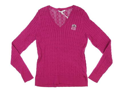 New W/ Logo Womens Fairway & Greene Perry Cable V Neck Sweater Small S Magenta MSRP $120 D32178