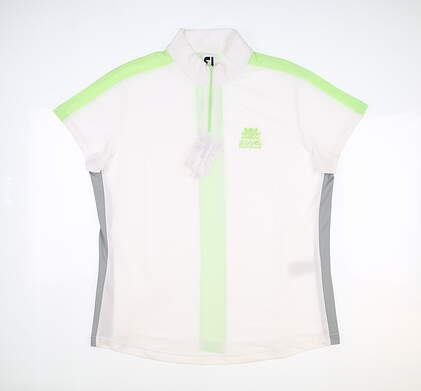 New W/ Logo Womens Footjoy Color Block Polo Large L White/Grey/Sprout MSRP $105 27475
