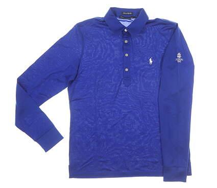 New W/ Logo Womens Ralph Lauren Golf Long Sleeve Polo Large L Blue MSRP $128