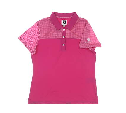 New W/ Logo Womens Footjoy Golf Polo Large L Pink MSRP $68 25499