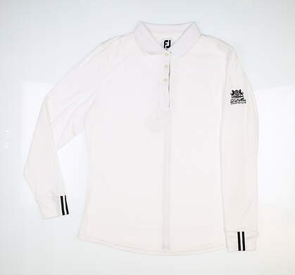 New W/ Logo Womens Footjoy Pique Long Sleeve Polo Large L White MSRP $85 27643