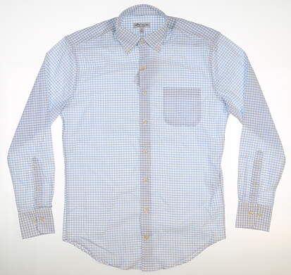 New Mens Peter Millar Button Up Small S White/ Blue MSRP $135 ME0EW03BL