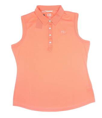 New Womens Cutter & Buck Sleeveless Polo Large L Orange LCK08681 MSRP $61