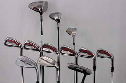Mens Complete Golf Club Set Right Handed Stiff Flex TaylorMade Driver & Hybrid Titleist Woods Irons Wedge Putter RH MSRP $ 1899