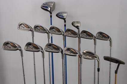 Mens Complete Golf Club Set Right Handed Stiff Flex All Ping Driver Wood Irons Hybrid Wedge & Anser Putter RH MSRP $ 1999