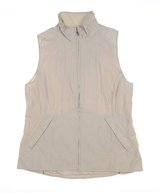 New Womens Peter Millar Ava Quilted Vest Large L Tan LF18Z01 MSRP $179