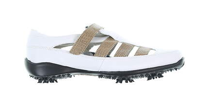 New Womens Golf Shoe Footjoy LoPro Collection Medium 8.5 White/Brown MSRP $60