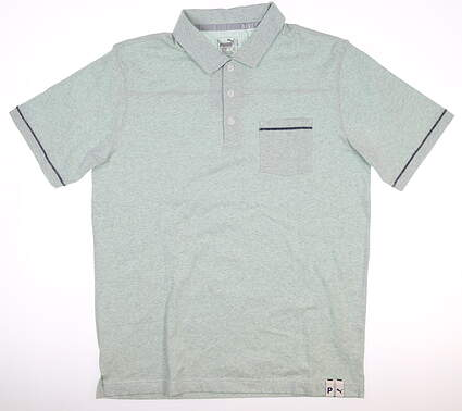 New Mens Puma Slub Polo Medium M Mist Green Heather MSRP $70 595786 02