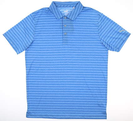 New Mens Puma Rotation Stripe Polo Medium M Ibiza Blue MSRP $60 577974 25