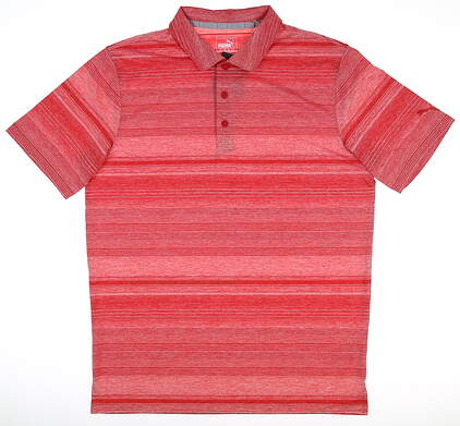 New Mens Puma Variegated Stripe Polo Medium Barbados Cherry MSRP $70 595792 06