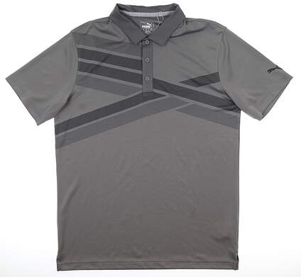 New Mens Puma Alterknit Texture Polo Medium Quiet Shade Heather MSRP $75 597122 06