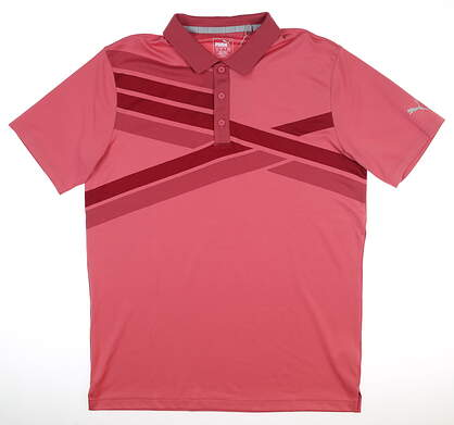 New Mens Puma Alterknit Texture Polo Medium M Rapture Rose MSRP $75 595779 05