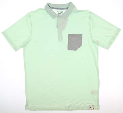 New Mens Puma Champions Polo Medium M Mist Green MSRP $70 595787 05