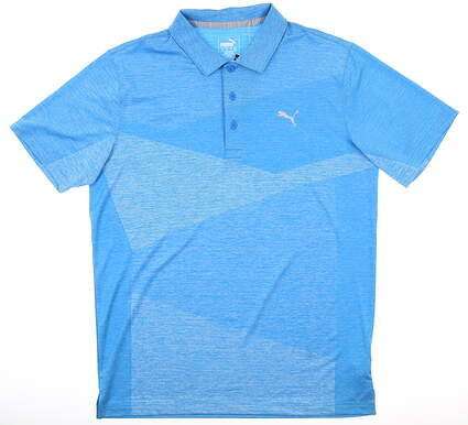New Mens Puma Alterknit Jacquard Polo Medium M Ibiza Blue Heather MSRP $70 597122 02