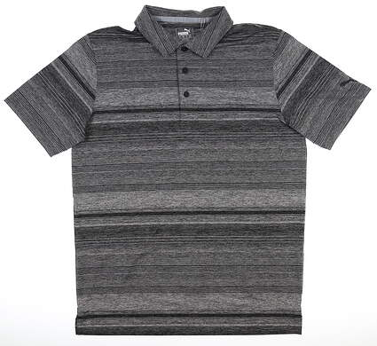 New Mens Puma Variegated Stripe Polo Medium Puma Black Heather MSRP $70 595792 01