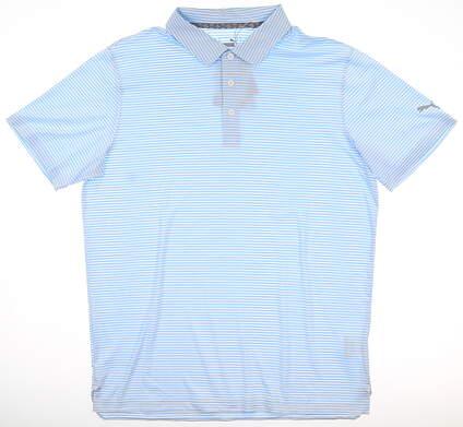 New Mens Puma Caddie Stripe Polo Medium M Blue Bell MSRP $65 595115 11