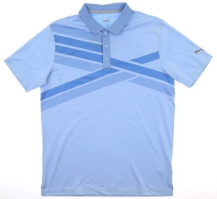New Mens Puma Alterknit Texture Polo Medium M Blue Bell MSRP $75 595779 03