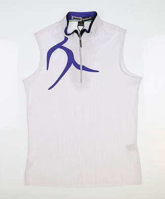 New Womens Jamie Sadock Crunch Sleeveless Golf Polo Large L White MSRP $103