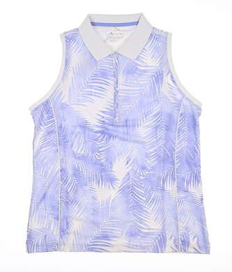 New Womens Peter Millar Palm Sleeveless Golf Polo Small Blue LS19EK03D MSRP $87