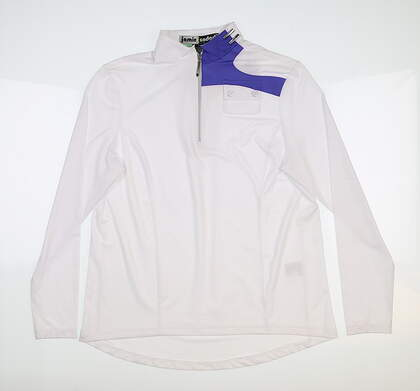 New Womens Jamie Sadock 1/2 Zip Golf Pullover Large L White 91100 MSRP $107
