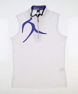 New Womens Jamie Sadock Crunh Sleeveless Golf Polo Small S White MSRP $103