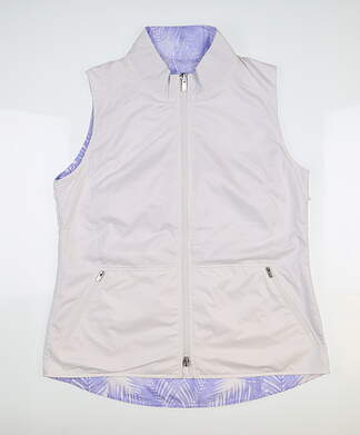 New Womens Peter Millar Reversible Vest Large L White/Purple MSRP $154