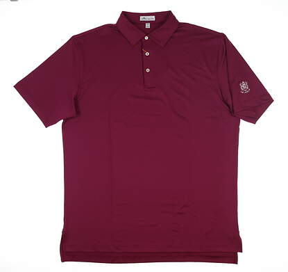 New W/ Logo Mens Peter Millar Polo Large L Maroon MF18EK01S MSRP $85