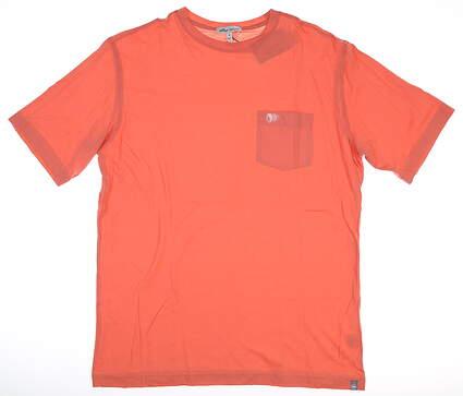 New W/ Logo Mens Peter Millar T-Shirt Medium M Coral MSRP $50 MS19K67
