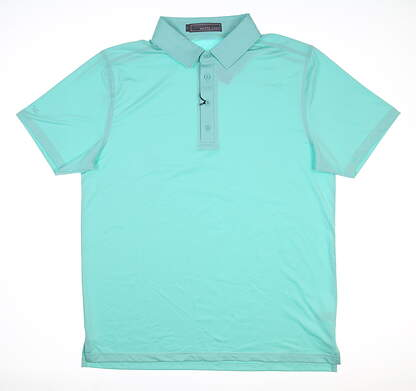 New Mens MATTE GREY Captain Golf Polo Large L Maui Blue MSRP $75