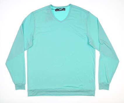 New Mens MATTE GREY Rover Long Sleeve V-Neck Large L Maui Blue MSRP $130